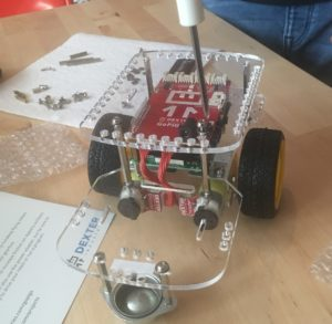 GoPiGo in construction (just missing the battery pack)